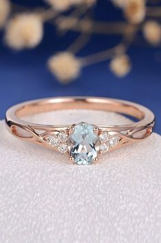 Aquamarine Engagement Rings For Romantic Girls ❤ aquamarine engagement rings rose gold oval cut twist ❤ More on the blog: #vintageengagementrings #weddingring #vintageweddingdresses