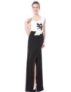 One Shoulder Padded Rhinestone Flower Chiffon Evening Dress - Ever-Pretty US