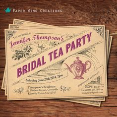 Rustic bridal shower tea party invitation. by ThePaperWingCreation, $15.00