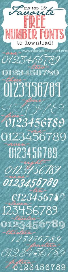 Top 15 favorite FREE number fonts with links! Great for Typography and numbered DIY projects!