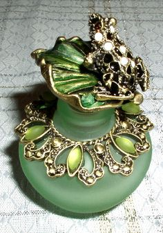 Crystal Frog on Enamel Leaf Jeweled Green Glass Perfume Bottle