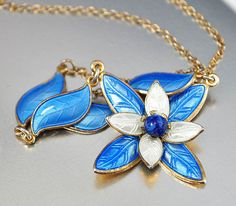 Vintage Aksel Holmsen Enamel and Sterling Silver Necklace. Offered by boylerpf on Etsy.