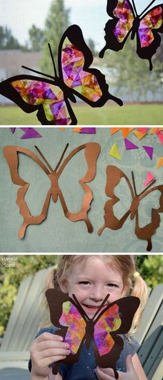 Brighten up your windows with these DIY tissue paper butterfly sun catchers! Stained glass tissue paper sun catchers are an easy kids craft for all ages. Easy Crafts For Kids, Summer Crafts, Diy For Kids, Fun Crafts, Diy And Crafts, Arts And Crafts, Craft Kids, Adult Crafts, Decoration Creche
