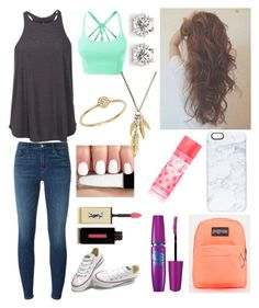 """Untitled #236"" by tayler-wyatt on Polyvore featuring J Brand, adidas, LE3NO, Converse, Panacea, Anine Bing, Casetify, JanSport, Victoria's Secret and Maybelline"