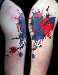 Abstract Watercolor Tattoos Design on Men Arm