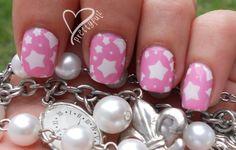 cute nail designs for short nails | ... : Super Cute Pink & White Star Nail Art Design for short nails