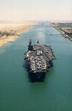 USS Theodore Roosevelt transiting the Suez Canal on its way to the Persian Gulf 1991