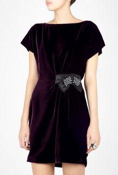 D&g Velvet Bow Shift Dress in Black (purple) | Lyst