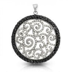 Bling Jewelry Onyx Color CZ Black and White Swirl Medallion Pendant 1920s Jewelry, Bling Jewelry, Vintage Jewelry, Jewellery, Fashion Necklace, Fashion Jewelry, Women Jewelry, Brass Necklace, Pendant Jewelry