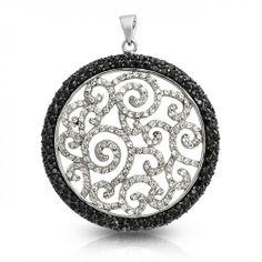 Black and White Swirl Onyx Color CZ Medallion Pendant