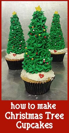 how to make Christmas Tree Cupcakes- fun and easy to do with kids :)