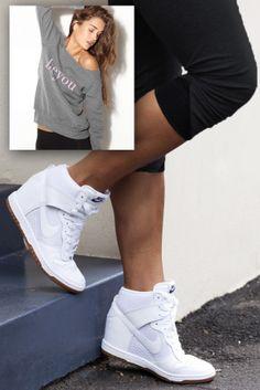 blue hour diy: Sneaker Wedges for Petite Girls - Short and Curvy Nike Wedge Sneakers, Nike Wedges, Nike Heels, Sneaker Heels, Wedged Sneakers, Wedge Tennis Shoes, Platform Sneakers, Wedge Sneakers Style, Shoes Sneakers