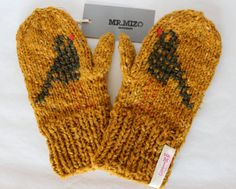 Hand knitted Mustard Wool Mittens