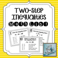 Math lib activities are a class favorite! In this activity, students will practice graphing systems of linear inequalities and identifying solution. Math Teacher, Math Classroom, Teaching Math, Teacher Stuff, Teaching Ideas, Classroom Ideas, Future Classroom, Maths, Math Resources