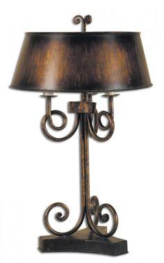 SKYLER ANTIQUE GOLD TABLE LAMP : Lot 1201A