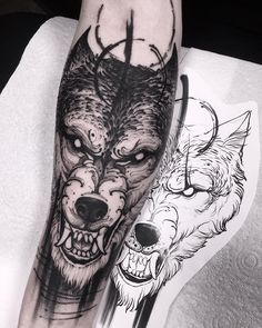 Blackwork another wolf tattoo halfsleeve by @brunosantostattoo