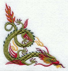 Chinese Dragon Corner  Embroidered Terry by forgetmeknottreasure, $15.00