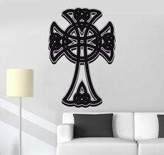 Vinyl Wall Decal Celtic Cross Ireland Decor Irish Pattern Stickers Mural Unique Gift (013ig)