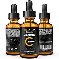 nice VITAMIN C Serum for Face - 2 fl. oz - 20% Organic Vit C + E + Vegan Hyaluronic Acid - Professional Facial Skin Care Formula - Radha Beauty