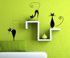 Vinyl Wall Decal 3 Cute Cats Wall decals by Zapoart on Etsy, $19.00