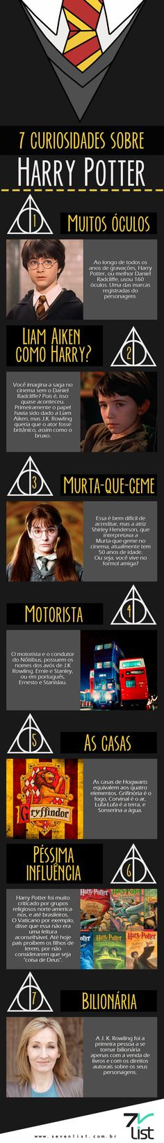 O tempo passa e o bruxinho mais amado de todos os tempos continua mais atual do que nunca. Hoje nós do Seven List separamos 7 curiosidades sobre Harry Potter. #SevenList #HarryPotter #Cinema #Filmes #Movies #Cine #Cinemark #ComicCon #CCXP #Filme #AnimaisFantásticos #Magic #Infográfico #Art Harry James Potter, Harry Ptter, Magia Harry Potter, Mundo Harry Potter, Harry Potter Tumblr, Harry Potter Facts, Harry Potter Fan Art, Harry Potter Universal, Harry Potter World