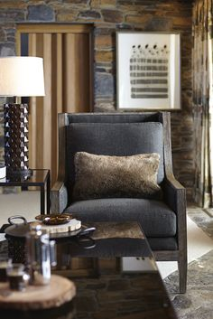 Shop for Bernhardt Interiors Chair, and other Living Room Arm Chairs at Tin Roof in Spokane, WA. Finish: Mango Wood only. Home Living Room, Living Spaces, Lodge Style, Chalet Style, Asian Decor, Lodge Decor, Dream Decor, Cool Ideas, Family Room