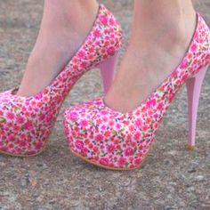 Pink floral high heels :)