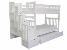 Bedz King Bunk Beds with Twin Trundle Tall Twin over Twin with Stairway White ** Details can be found by clicking on the image.