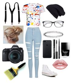 """Artsy I guess; I Dunno...?"" by maniacalgemini on Polyvore featuring Alice + Olivia, Topshop, Converse, Halogen, Accessorize, Lime Crime, MAC Cosmetics, Butter London and Eos"