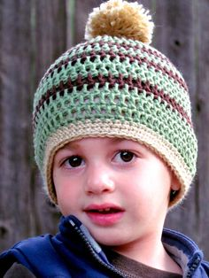 Baby Boy Crochet Hat with Pom Pom  Brown Green and by FairyOfColor, $18.00 I think this could work for a girl as well, with the right outfit.