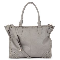 Grey Studded Satchel.