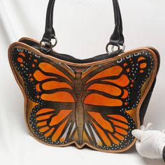 Sleek hand painted leather Biacci butterfly handbag, purse, bag, tote