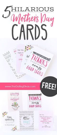 Hilariously funny and FREE Mother's Day cards. Printables designed by www.JabCreativeAustralia.com for www.TheDatingDivas.com