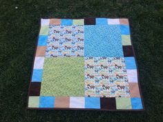 """Baby quilt I made for my great-nephew. This one was the first time I used """"minky"""" for the backing, something I've wanted to try for a while. It was a tiny bit challenging to wor…"""