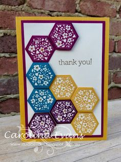 Stampin' Up! ... hand crafted thank you card ... bright colored cardstock stamped with white flowers and punched out  with hexagon punch ... luv how the arrangement leaves space for the sentimant ...