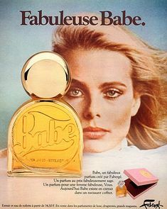 Vintage Perfume Ad: Babe, 1977. Margo Hemingway, Ernest's granddaughter