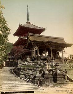 Kyoto Kiyomizudera Three-tiered Pagoda 手彩色写真京都清水寺三重塔明治時代