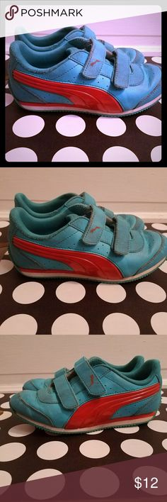 Children's Puma shoes Blue and orange used condition some wear on the soles Puma Shoes Slippers