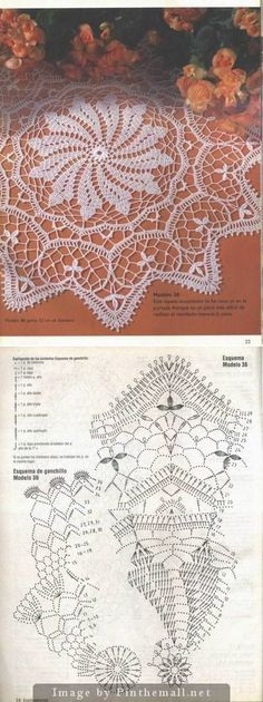 This Pin was discovered by Rie Filet Crochet, Crochet Doily Diagram, Crochet Doily Patterns, Crochet Chart, Thread Crochet, Crochet Motif, Irish Crochet, Crochet Stitches, Crochet Dollies