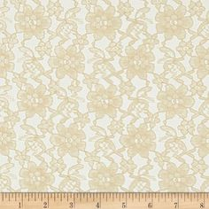 Raschelle Lace Champagne from @fabricdotcom  Delicate and classic, this sheer lace has no significant stretch and a pearlized sheen. This lace fabric appropriate for lingerie, overlays on skirts or dresses, feminine apparel accents, wraps or shrugs, and even home decor accents.