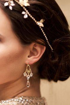 bd0af990182e1a Slubne kolczyki Swarovski Golden Shadow i Crystal – Lacey – pozłacane  Swarovski. Anelle - biżuteria ślubna