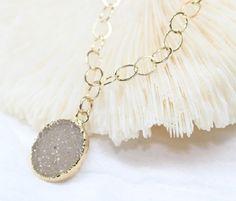 Tan Druzy 14k Gold FIlled Big Link Chain Necklace
