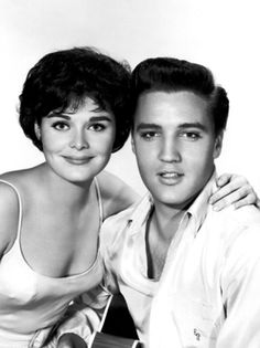 """Elvis and Joan Blackman in promo shoot for """"Kid Galahad"""" 1962. Joan also co-starred with Elvis in """"Blue Hawaii in 1961."""