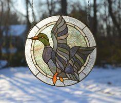 "16"" Mallard Duck Bird Tiffany Style Stained Glass Suncatcher Panel | eBay"