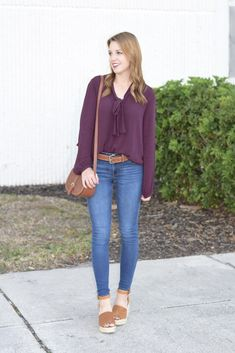 Burgundy Top & Cognac Accessories | spring style | spring fashion | fashion for spring and summer | warm weather fashion | style tips for spring | fashion tips for spring || Absolutely Annie