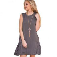 vestido sin mangas 2016 del verano del nuevo bolsillo suelta Una falda palabra mujer LOGin Para - gris