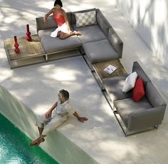 Sectional modular garden sofa CLOUD by Gloster - if I had a large enough patio, I would get something like this.