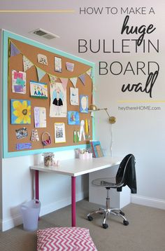 How to make a large cork board wall perfect for your home office! Click through . How to make a large cork board wall perfect for your home office! Click through for tutorial via He Large Cork Board, Diy Cork Board, Cork Boards, Cork Board Ideas For Bedroom, Cork Board Projects, Cork Wall, Diy Home Decor, Room Decor, Board For Kids