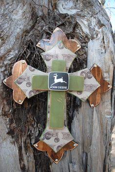 John Deere Wooden decorative cross. $65.00, via Etsy.