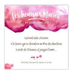 """Invitation complémentaire Aquarelle - Carton d'invitation complémentaire """"Aquarelle"""" pour le vin d'honneur, le dîner ou la soirée, à glisser dans le faire-part."""